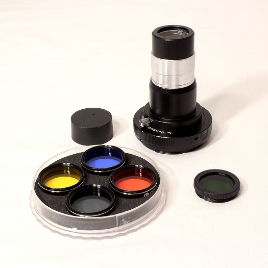 Barlow T-Adapter with Celestron Filter Kit (left) and Moon Filter (right)