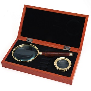 Magnifier Set Brass Wood Celestron 22301